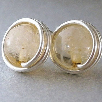 Citrine Stud Earrings Sterling Silver Wire Wrapped Studs Citrine Crystal Jewelry Silver Filled Option Little Yellow Studs Posts Sterling