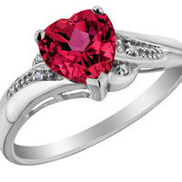 Created Ruby Heart Promise Ring with Diamonds 7/8 Carat (ctw) in 10K White Gold