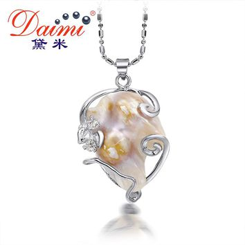 DAIMI 2016 New Huge Natural White Black Baroque Pearl Pendant Necklace For Women Casual Style.