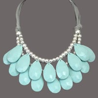 Teardrop Bib Necklace: Sky Blue | Hope's