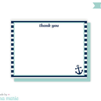 anchor thank you cards, nautical flat note cards, 8 cards & envelopes