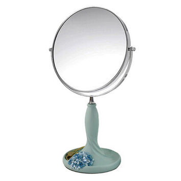 Continental Make-up Mirror 7-Inch Tabletop Two-Sided Cosmetic Mirror Blue