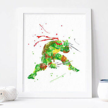 TMNT art, Teenage Mutant Ninja Turtle Raphael Watercolor Raph Print tmnt Poster Teenage Mutant Ninja Turtle wall art, ninja turtles bedroom