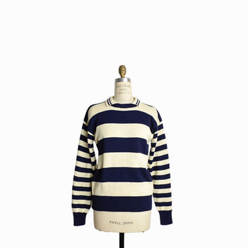 Vintage Nautical Striped Sweater in Navy Blue & Cream - women's medium