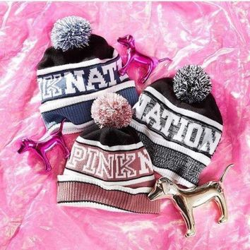 PEAPOK3 Victoria's Secret PINK Knit Hat Bling Beanie - Grey