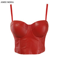 Fashion Sexy PU Leather 2015 New Bralet Women's Club Bra Cropped Top Bustier Camis Plus Size