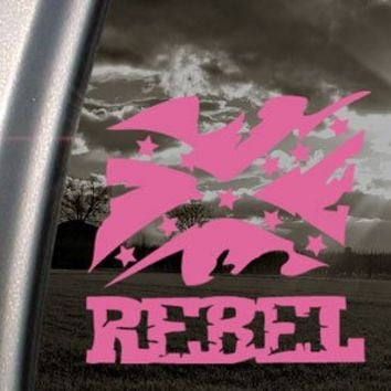 Rebel Flag Pink Decal Truck Bumper Window Vinyl Pink Sticker
