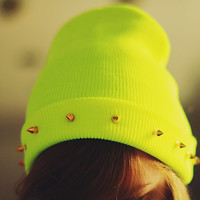 Studded spiked BEANIE Neon Yellow green
