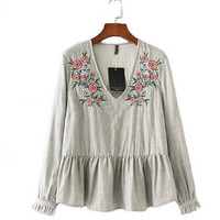 Moirlicer Women floral embroidery v neck pleated shirts sweet vintage long sleeve loose blouses female casual tops blusas