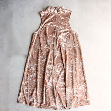 crushed velvet swingy tank dress - gold
