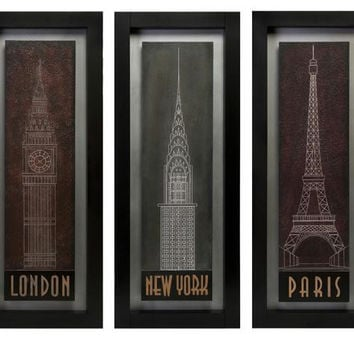 "3 Wall Panels - Each Reads  "" London ""  New York ""  And Paris"