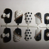 Black White and gold chain studded deco bow False/fake nails gyaru or lolita
