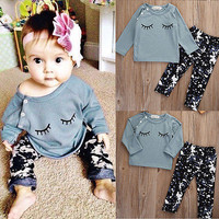 2Pcs Newborn Infant Baby Girls Tops Lovely Shirt Long Pants Outfits Set Clothes