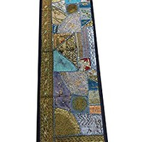 Indian Inspired Table Runner Sari Patchwork Boho Chic Blue Teals Gold 60inch