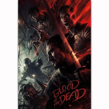 FX1348 Hot Call Duty Black Ops 4 Zombies Blood Of The Dead 2018 Game Poster Art Silk Light Canvas Home Room Wall Printing Decor