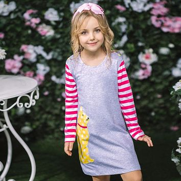 Baby Girl Dress with Animal Applique Autumn Princess Dress for Girls Clothing Robe Infant Kids Clothes Children Dress