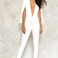 CAPE IT TOGETHER TAILORED JUMPSUIT
