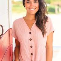 Blush V-Neck Ribbed Top with Front Tie