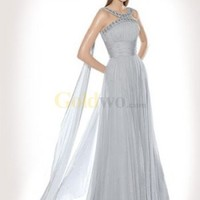 Halter Beaded Satin Chiffon Evening Dress - US$179.99 - Goldwo.com