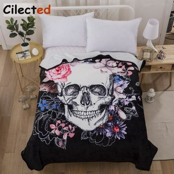 Cilected Flower Skull Printed Thick Fleece Throw Blanket For Beds Short Plush Adult Bed Cover Weighted Blanket 900G 150*200cm