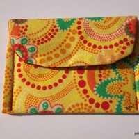Bright Yellow Floral Blooms and Swirls Mini Pocket Jewelry Pouch