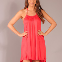Meet Me at Sunset Halter Dress - Coral