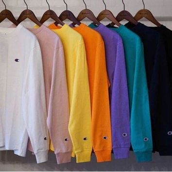 PEAP2Q champion l s tee 18ss embroidery small logo long sleeve t shirt