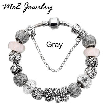 New European Silver Plated Bead Charm Bracelet Beads Fit Women Pandora Bracelets & Bangles Jewelry Free Shipping