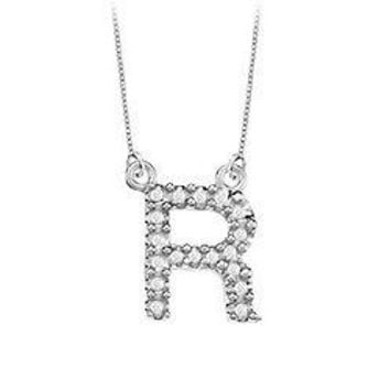 Petite Baby Charm Cubic Zirconia R Initial Pendant : .925 Sterling Silver - 0.25 CT TGW