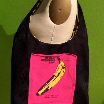 The Velvet Underground & Nico Hobo Bag Lou Reed Upcycled Tshirt Bag Andy Warhol Banana Black Pink and Yellow