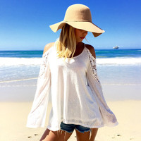 White Lace Cold/ Off The Shoulder Blouse
