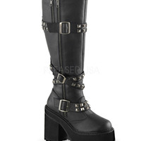 Demonia Assault Knee High Vegan Leather Strap Boots