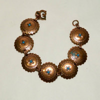 "Copper Concho Link Bracelet Boho Southwest Tribal Look 7"" Bracelet"