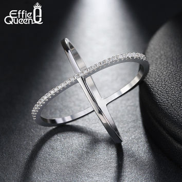 Effie Queen New Big Cross Shape Engagement Zircon Ring White Gold Plated Wedding Jewelry Infinity Sign Rings for Women DAR009