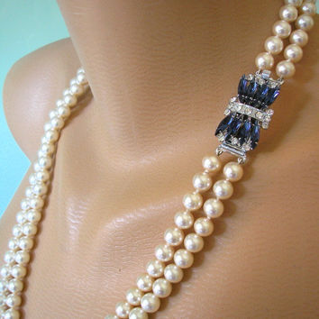 Sapphire Necklace, Long Pearl Necklace, Great Gatsby Jewelry, Cream Pearls, Vintage Bridal, Montana Blue Rhinestone, Wedding Necklace, Deco