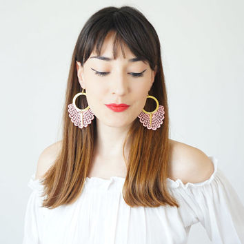 Statement Earrings Spring Fashion Summer Trends Pink Earrings Boho-Chic Fashion Bohemian Earrings Gift for Her Women Accessory / GELARI
