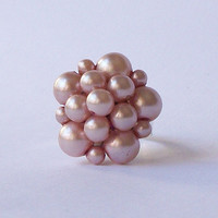 Vintage Cluster Earring Adjustable Ring, Eco-Friendly Ring, Vintage Earring, Upcycled Jewelry, Pink Ring