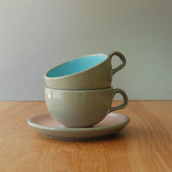 Vintage Pink & Blue Harkerware Tea Cup and Saucer