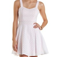 Color-Lined Eyelet Skater Dress by Charlotte Russe