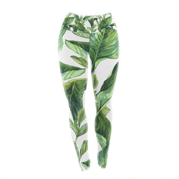 "Kess Original ""Banana Leaves"" Green White Yoga Leggings"