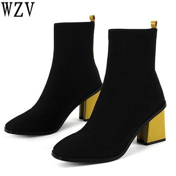 Europe America style Stretch knitting women boots fashion Square toe Thick high heels boots Color matching ankle boots E331