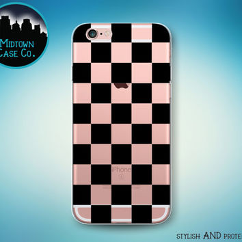 Checkerboard Pattern Black Checker Check Squares Transparent Clear Rubber Case for iPhone 7 Plus 7 iPhone 6s 6 Plus iPhone SE iPhone 5s 5 5c