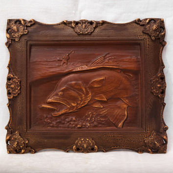 Carved wooden picture Fishing Wall art