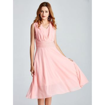 Pink V-Neck Sleeveless Chiffon Dress