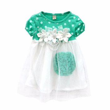 WEIXINBUY 2017 Cute Summer Children Clothing Ball Gown Princess Dress Kids Baby Girls Polka Dots Flower Tutu Dresses 4 Colors