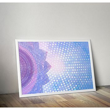 Blue Mandala Lotus Poster Bohemian Art Print Poster With Lotus Flower Design no frame 20x30 Large