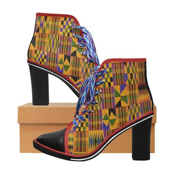 kente print high heels Women's Canvas Lace Up Chunky Heel Ankle Boots (Model 054)