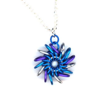 Whirlybird Pendant Blue Purple and Silver with Silver Chain Necklace