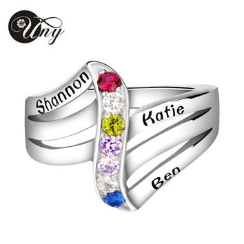 UNY Ring 925 Sterling Silver Rings Personalized Birthstone Engraving Customized Mothers Ring Women Family Heirloom Jewelry Rings