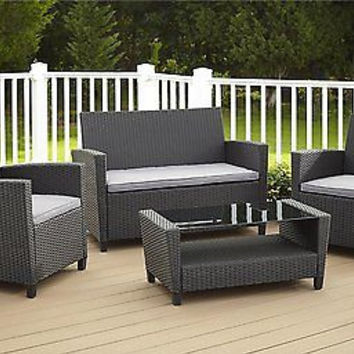 4-Piece Resin Wicker Patio Set, Black with Grey Cushions New Free Shipping